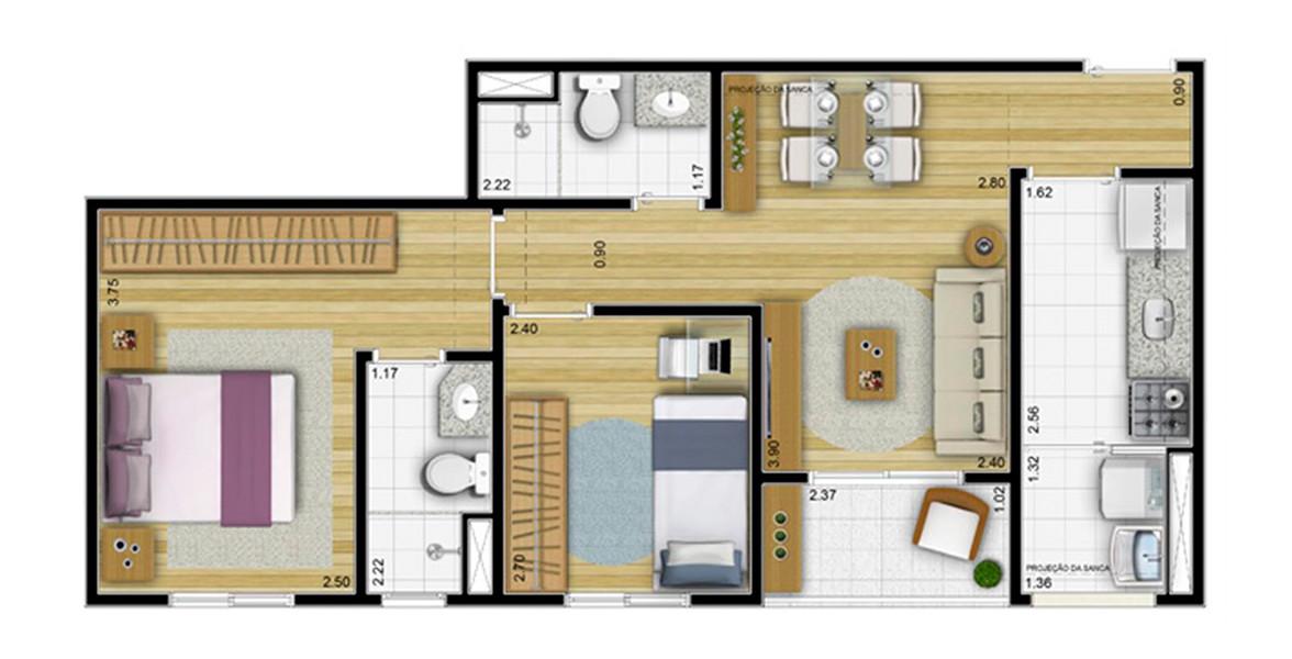 53 M² - 2 DORMS., SENDO 1 SUÍTE. Apartamento no Jaçanã com 2 dormitórios e terraço. Devido ao seu tamanho, consegue ter um preço bem atrativo.