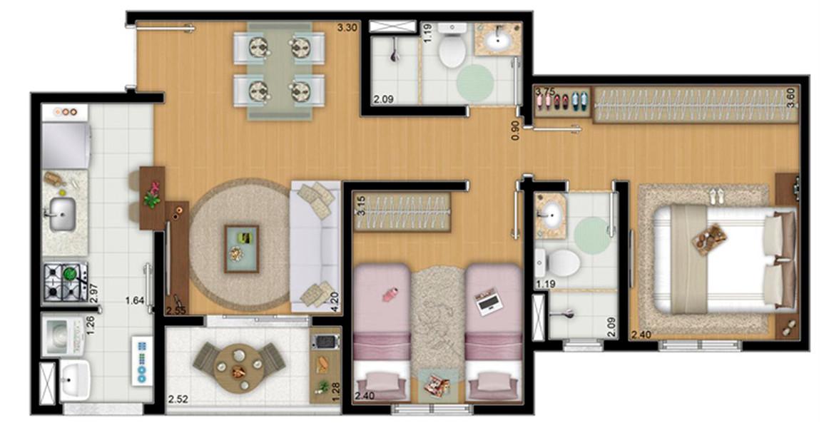 54 M² - 2 DORMS., SENDO 1 SUÍTE. Apartamento em São Miguel com cozinha americana. Suíte conta ampla área para armário.