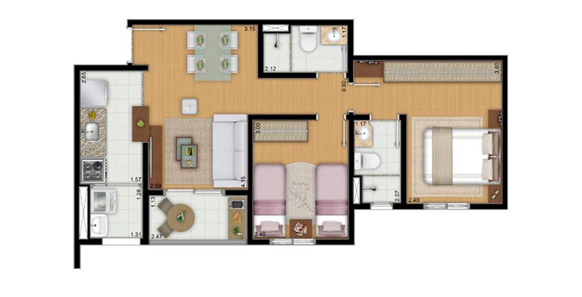 53 M² - 2 DORMS., SENDO 1 SUÍTE. Apartamento na Vila Guilherme com 2 dormitórios, sendo 1 suíte com banheiro ventilado naturalmente e boa área para armário. Devido ao seu tamanho, consegue ter um preço bem atrativo.