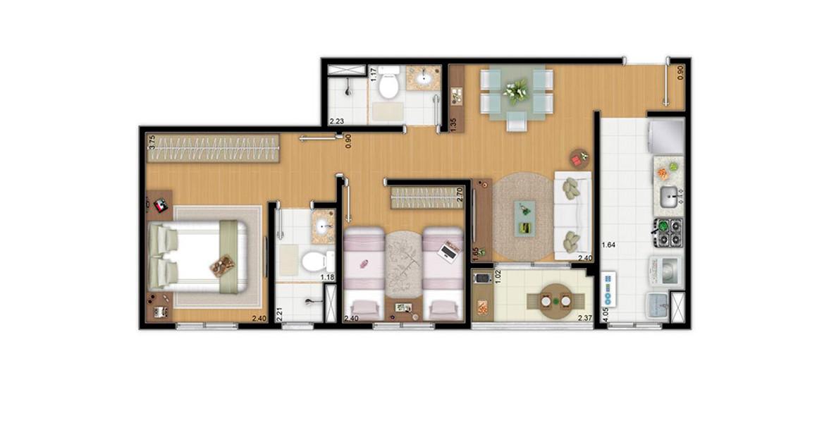 55 M² - 2 DORMS., SENDO 1 SUÍTE. Apartamento na Penha com 2 dormitórios e terraço. Devido ao seu tamanho, consegue ter um preço bem atrativo.