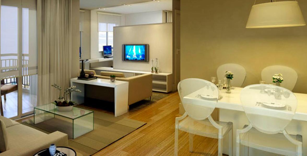 LIVING do apto de 71 m² com 3 ambientes para receber os amigos.