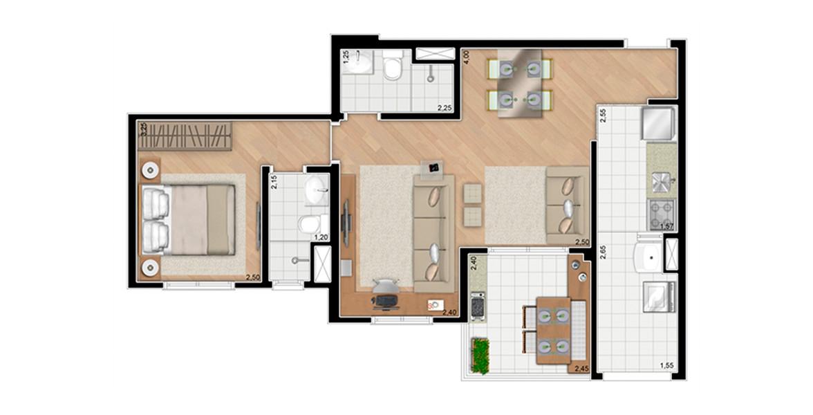 59 M² - 1 SUÍTE. Apartamento com living ampliado e banheiro com função de lavabo, muito útil ao receber visitas. Suíte do casal conta com banheiro com ventilação natural.