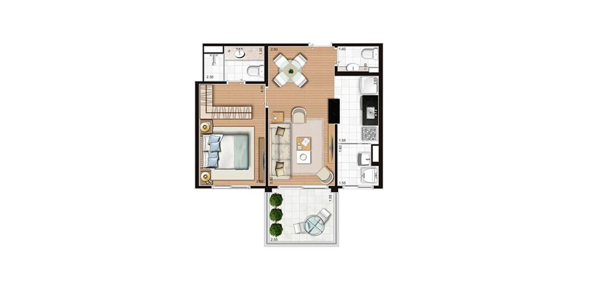 43 M² - 1 SUÍTE. Apartamento no Morumbi com uma suíte confortável, com ampla janela com persiana de enrolar e espaço para closet. 1 vaga.