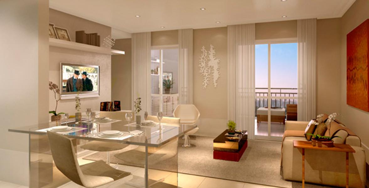 LIVING AMPLIADO do apto de 95 m² com cozinha americana, integrada à varanda.