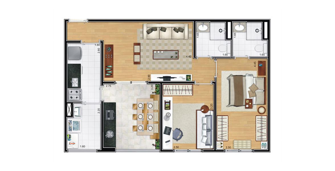 65 M² - 2 DORMS., SENDO 1 SUÍTE. Apartamento no Belém com ampla varanda com bancada com ponto grill, tem passagem direta para a cozinha. A planta ocupa bem cada espaço, pois não tem corredor.