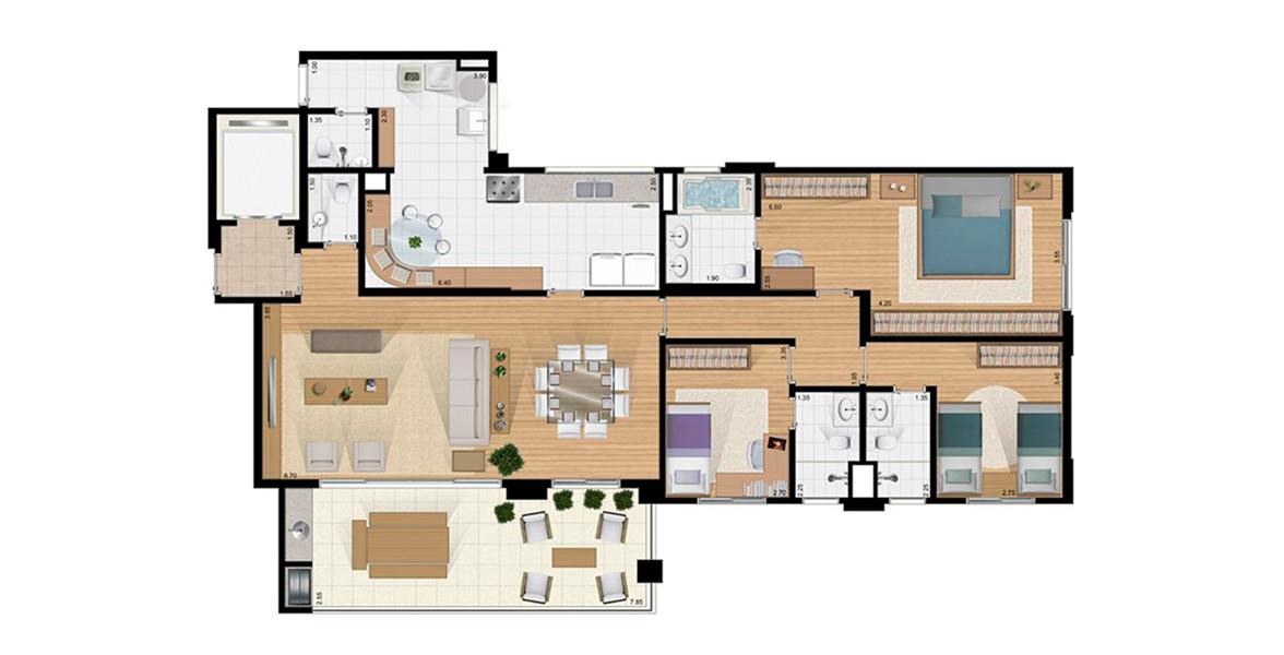 160 M² - 3 SUÍTES. Apartamento no Jardim Marajoara com 3 suítes, sendo uma ótima suíte master com ampla área para armário e banheiro com 2 cubas e infra para hidromassagem.