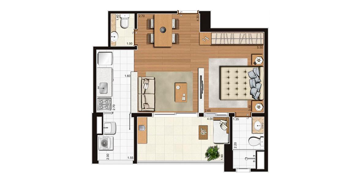 47 M² - STUDIO. Apartamento todo integrado, tem um banheiro exclusivo para o dormitório. As visitas contam com um lavabo e você também pode recebê-las na ampla varanda.