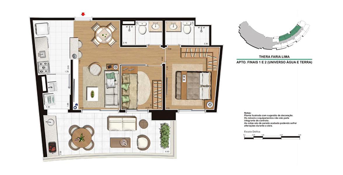 68 M² - 2 DORMS., SENDO 1 SUÍTE. Apartamento em Pinheiros com suíte e ampla varanda em L com mais de 6 metros de frente, integrada ao living e à cozinha.