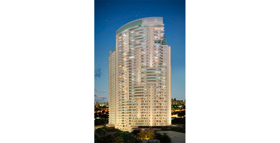 FACHADA NOTURNA da torre única com 36 andares, com lazer no térreo e na cobertura.