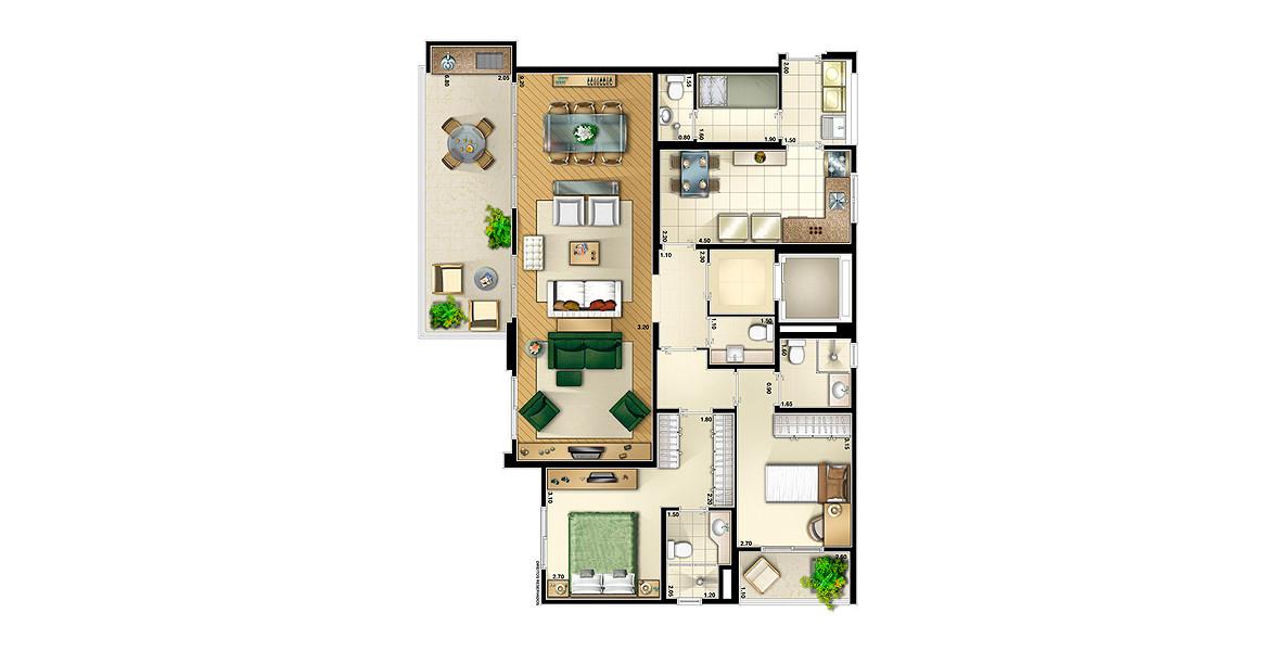 114 M² - 2 SUÍTES. Apartamento no Panamby com excelente living de mais de 9 metros de boca de sala, integrado à varanda gourmet em L com churrasqueira.