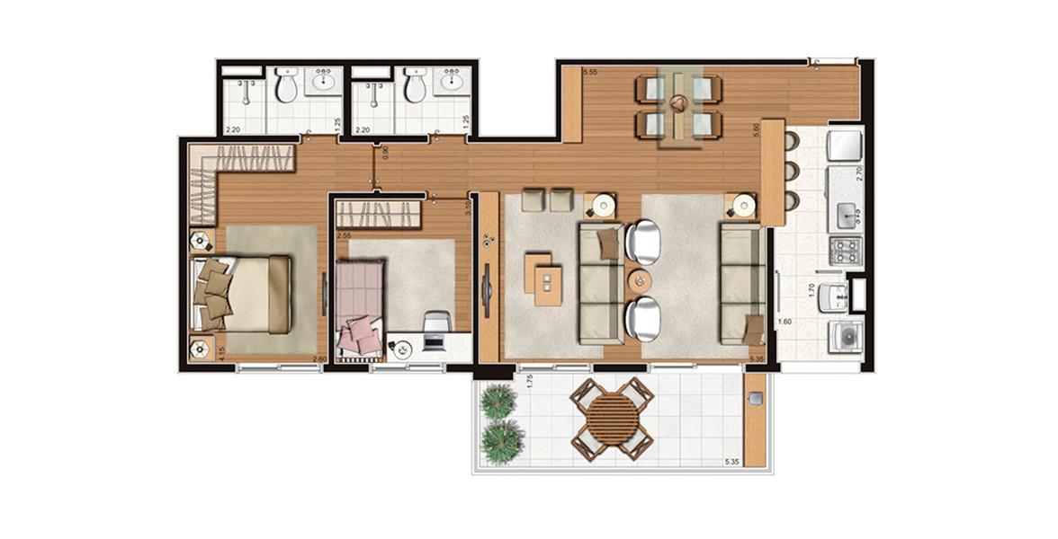 82 M² - 2 DORMS., SENDO 1 SUÍTE. Apartamento na Mooca de 2 dormitórios, está com o living ampliado e cozinha americana. Tem um ótima varanda integrada ao living por 2 passagens.