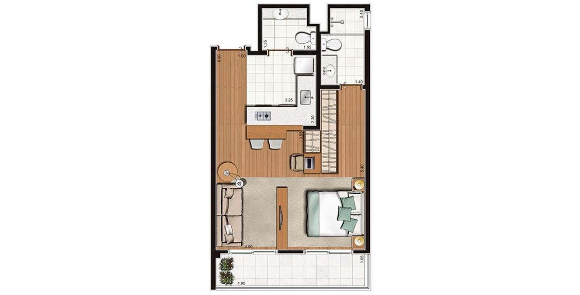 46 M² - STUDIO. Apartamento compacto na Mooca com excelente varanda com quase 5 metros de frente. Tem uma ótima cozinha com bancada em L. As visitas contam com lavabo, para maior privacidade no banheiro.