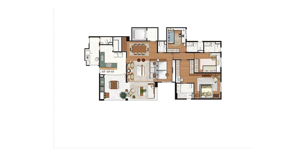 172 M² - 3 SUÍTES. Apartamento na Mooca com 3 ótimas suítes, com living ampliado, integrado à varanda com opção de churrasqueira. Há acesso de serviço e também social, através de um hall.