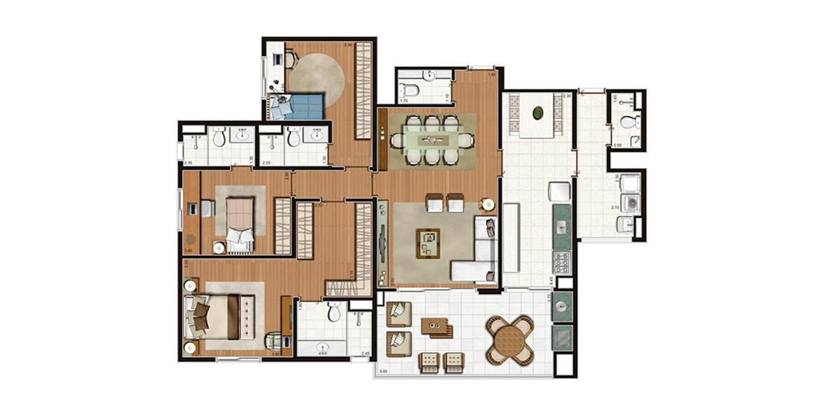 141 M² - 3 SUÍTES. Apartamento na Mooca com 3 ótimas suítes, com destaque para a suíte master com closet, boa circulação e banheiro com grande bancada. Tem uma excelente varanda com opção de churrasqueira integrada ao living por amplos caixilhos.