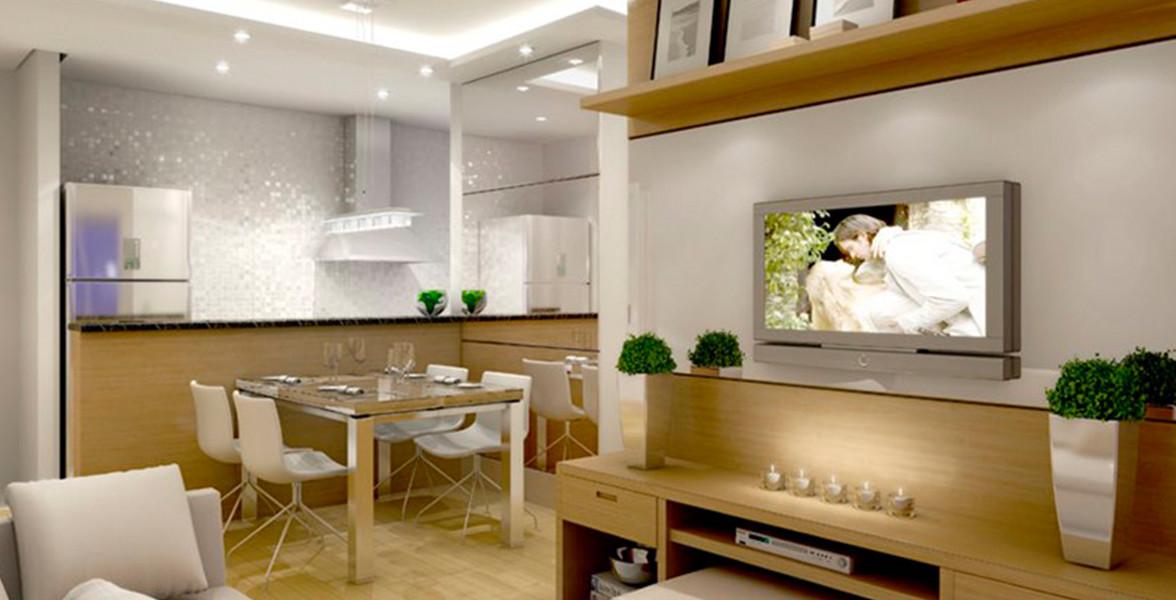 LIVING do apto de 57 m² com bancada e espaço cativo para uma mesa de jantar para 4 lugares.