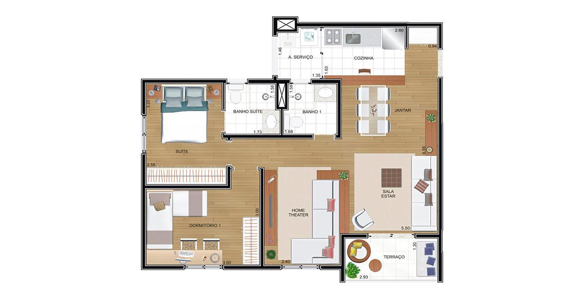 68 M² - 2 DORMS., SENDO 1 SUÍTE. Apartamento no Jardim Sul com living ampliado, tem uma ótima área social, integrada à cozinha e ao terraço.