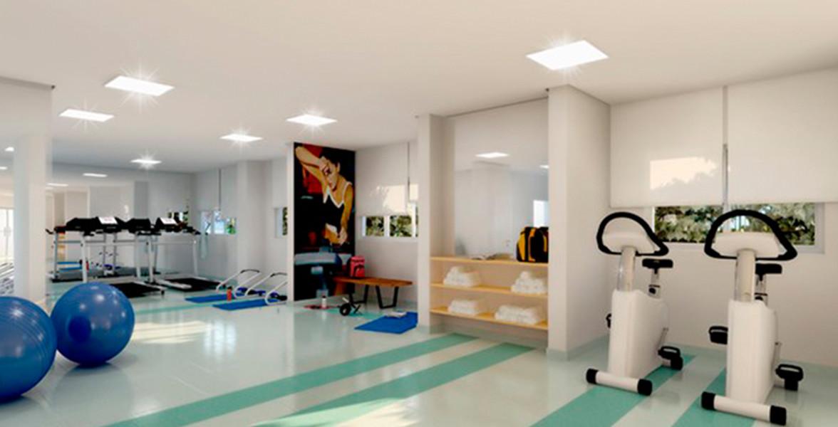 FITNESS com espaço para musculação e pilates.