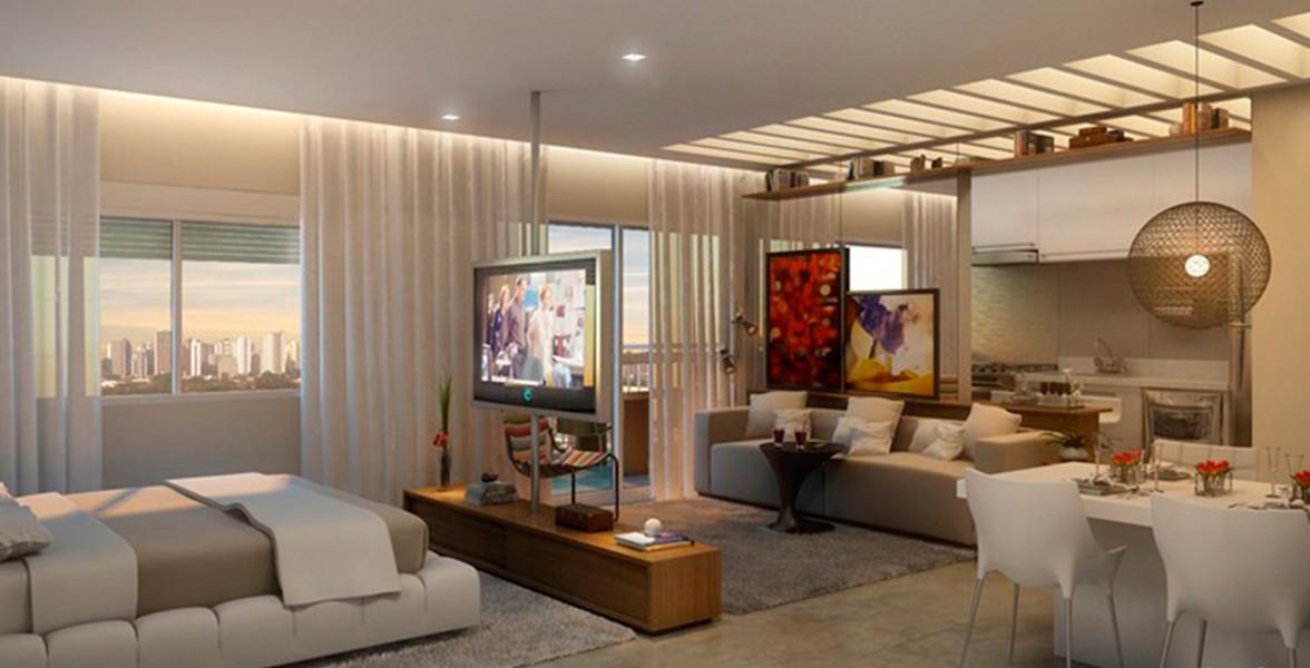 STUDIO de 49 m² bem iluminado devido às janelas com persiana de enrolar.