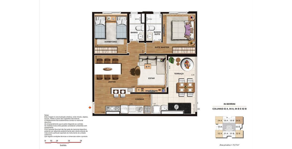 73 M² - 2 DORMS., SENDO 1 SUÍTE. Apartamento no Brooklin com excelente terraço integrado ao living e à cozinha, gerando um apto bem fluído.