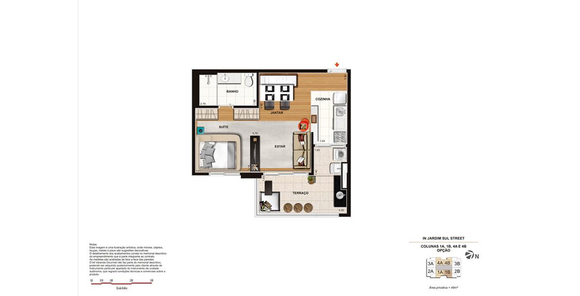 Planta do In Jardim Sul. 49 M² - STUDIO. Apartamento compacto, mas confortável devido aos ambientes integrados, principalmente por conta do terraço com passagem direta para a cozinha.