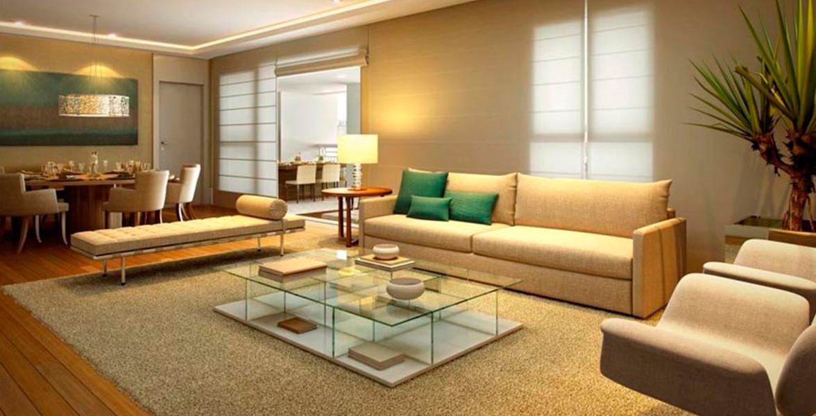 LIVING do apto de 142 m² com excelente integração com o terraço, devido às grandes portas de vidro do Taman Jardim Sul