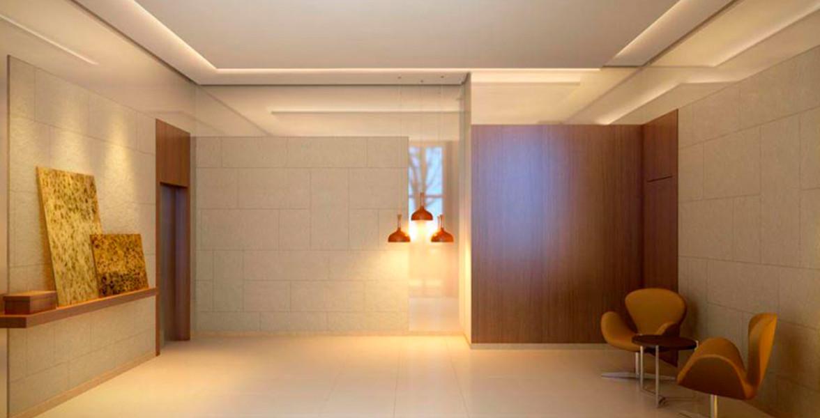 HALL SOCIAL com decoração sóbria e sofisticada, projetada por Cristina Barbara.