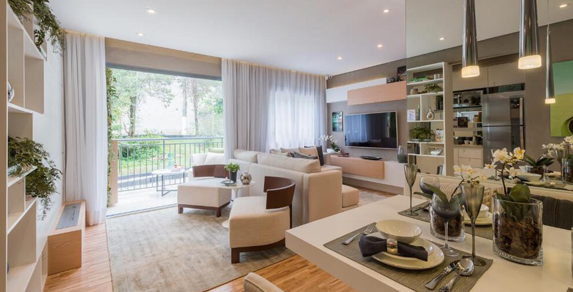 LIVING AMPLIADO do apto de 65 m² bem confortável, tem quase 5 metros de boca de sala.