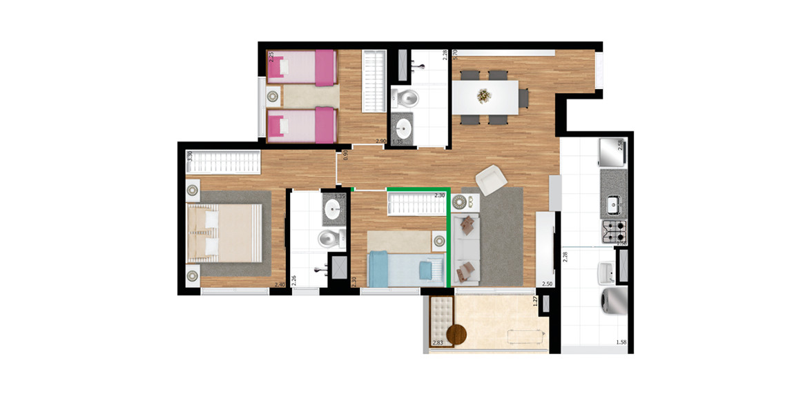 65 M² - 3 DORMS., SENDO 1 SUÍTE. Apartamento na Vila Mascote com 3 dormitórios, com ótima suíte para o casal com ampla janela com persiana de enrolar e banheiro ventilado naturalmente.