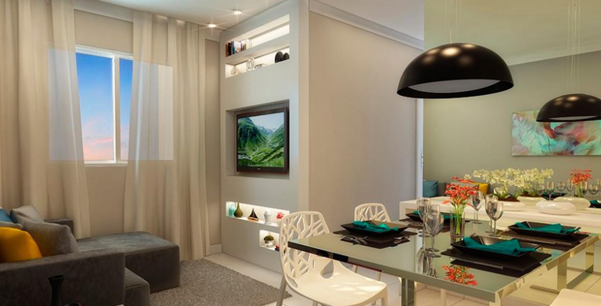 SALA do apto de 45 m² sem varanda, para aproveitar melhor os espaços internos.