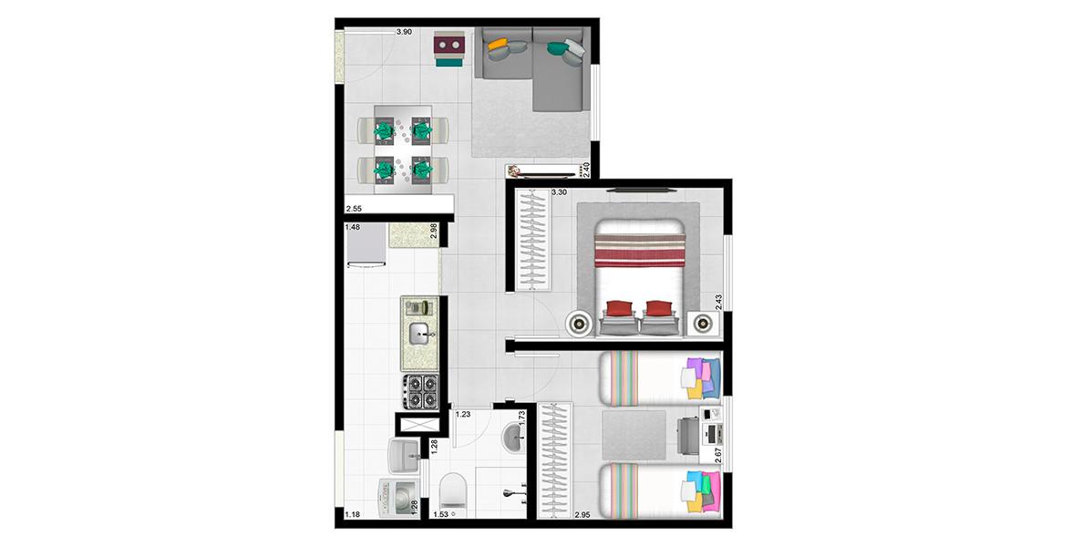 45 M² - 2 DORMS. Apartamento em Cotia com 2 dormitórios, tem todos os ambientes ventilados naturalmente, criando um apto bem agradável.