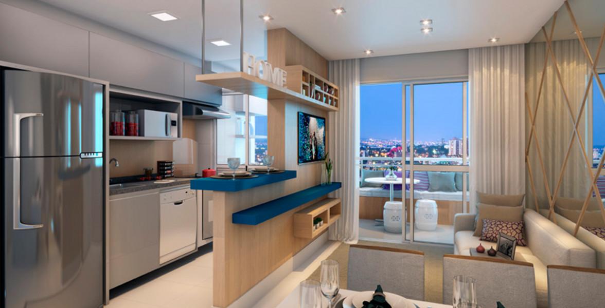 LIVING do apto de 58 m² com estilosa cozinha americana e terraço.