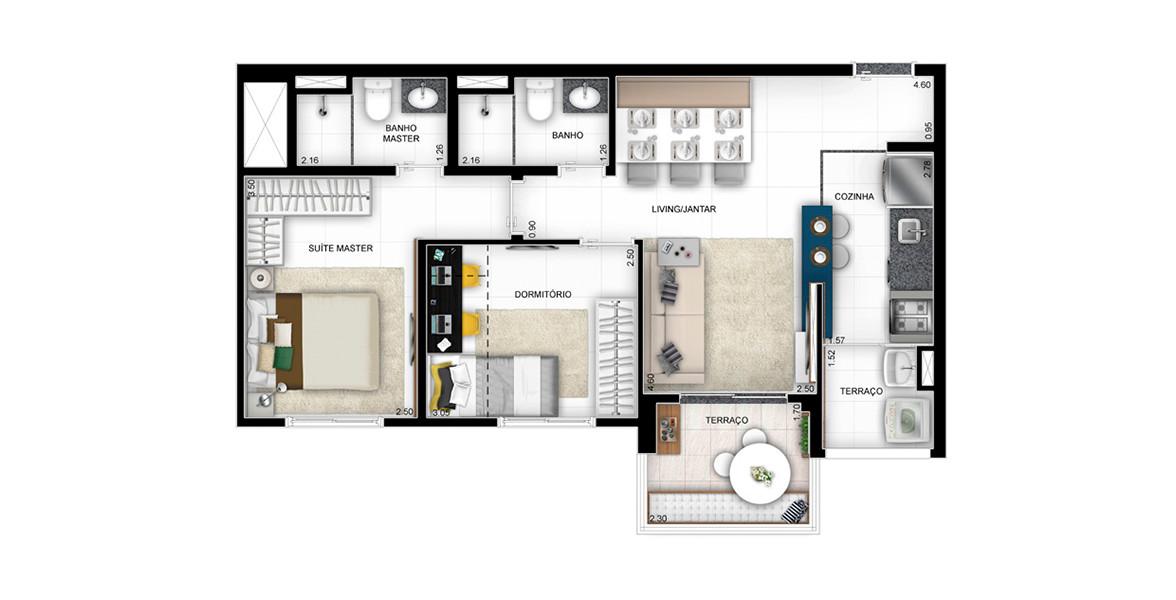 58 M² - 2 DORMS., SENDO 1 SUÍTE. Apartamento na Barra funda com confortável suíte e área social com boa amplitude, devido à cozinha americana.