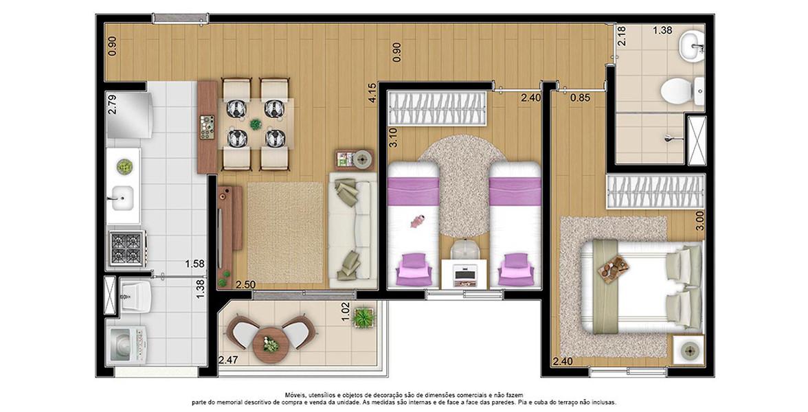 50 M² - 2 DORMS. Apartamento família para quem tem até 2 filhos. Tem varanda integrada à sala que é um ótimo apoio para receber visitas. Ao lado da porta de entrada ainda cabe uma boa adega.