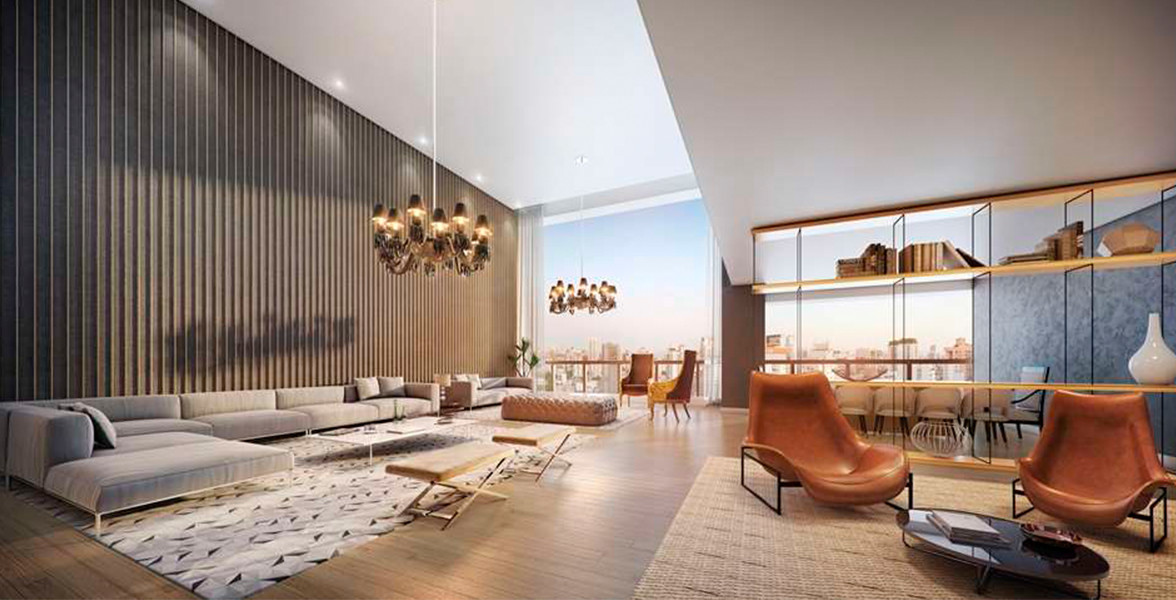 LIVING do apto de 275 m² com pé-direito duplo no living e no terraço.