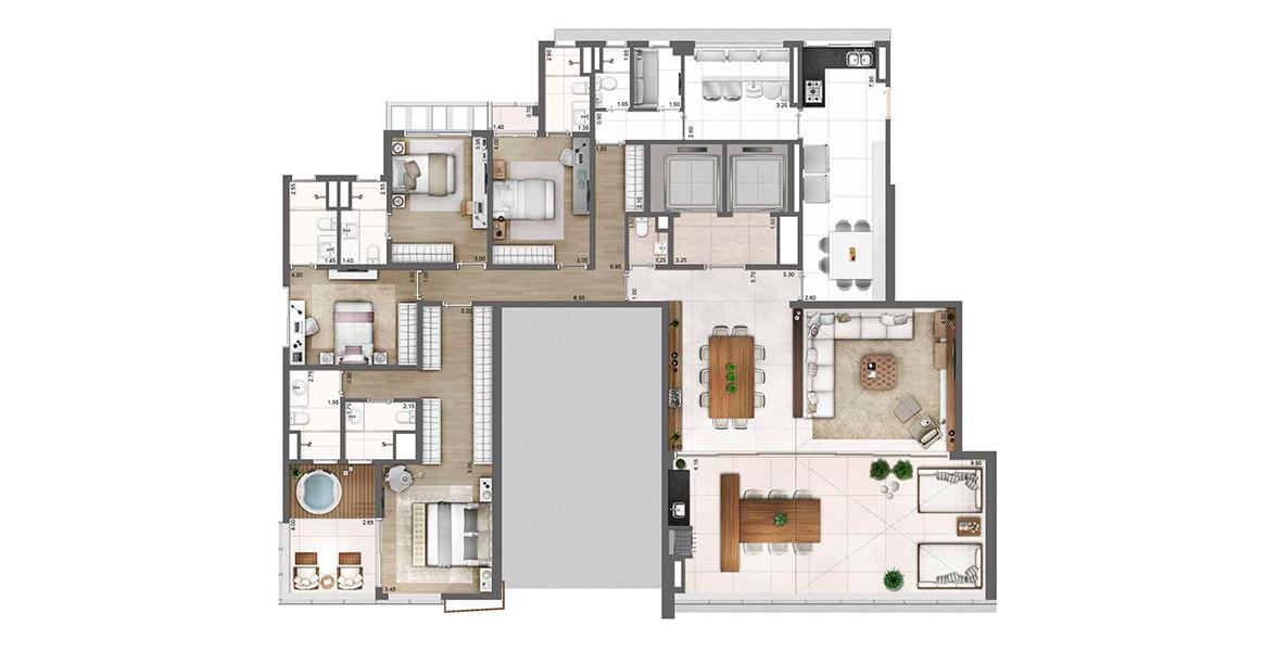 275 M² - 4 SUÍTES. Apartamento de luxo com living integrado ao terraço por amplos caixilhos de ponta a ponta e pé-direito duplo, acessíveis por hall privativo com 2 elevadores e apoio de lavabo. Tem área de serviço completa.