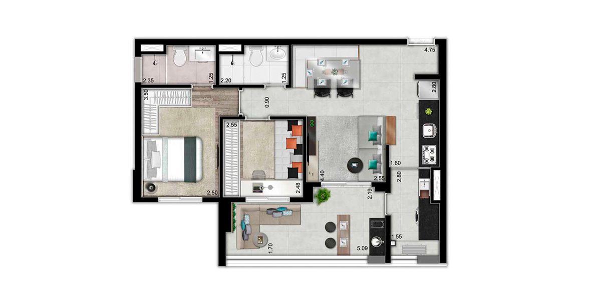 65 M² - 2 DORMITÓRIOS, SENDO 1 SUÍTE. Apartamento na Vila Mariana com cozinha americana e amplo terraço com 5 metros de frente e passagem para a cozinha.