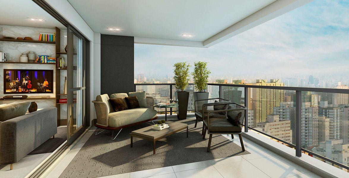VARANDA do apto de 81 m² em L, que permite uma vista mais ampla.