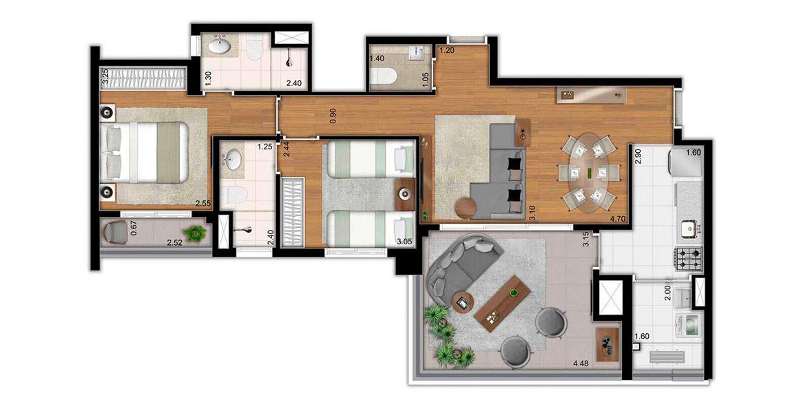 81 M² - 2 SUÍTES. Apartamento no Itaim Bibi de 2 dormitórios, sendo uma excelente suíte com terraço privativo. Tem um ótimo terraço gourmet em L, opção de churrasqueira e passagem direta para a cozinha.