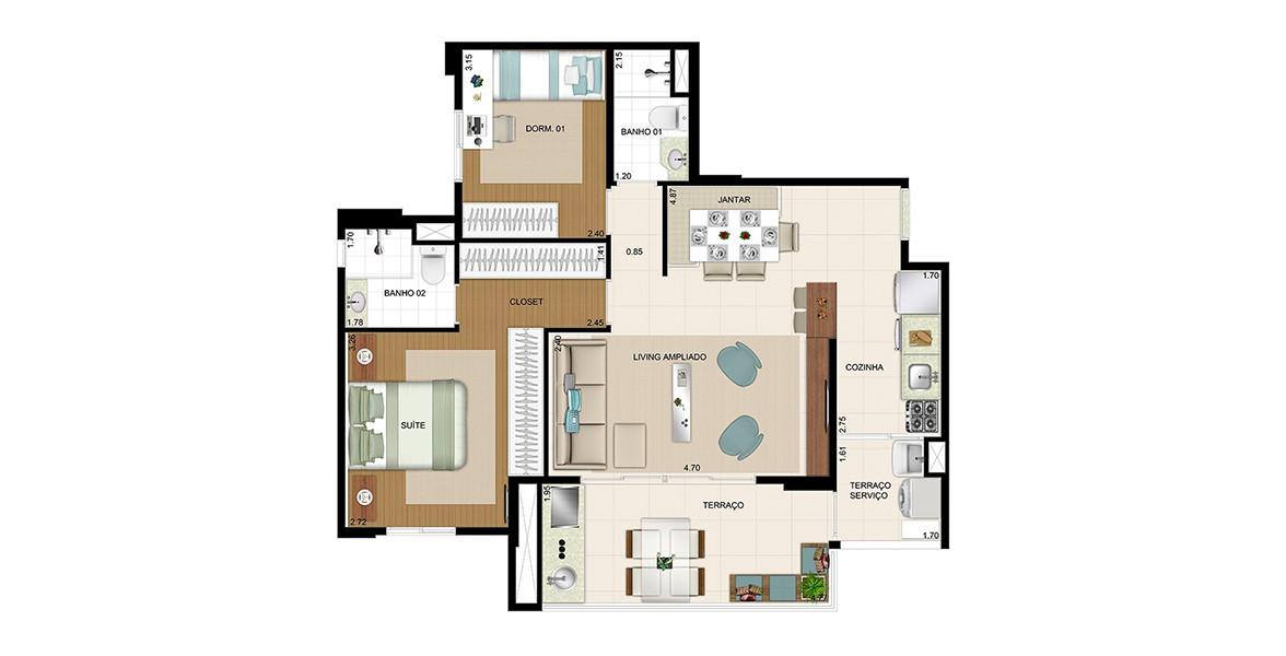 Planta do Paysage Mooca. 78 M² - 2 DORMS., SENDO 1 SUÍTE. Apartamento na Mooca com living ampliado e cozinha americana, tem amplo terraço gourmet com quase 5 metros de frente, passagem para a cozinha e já entregue com churrasqueira.