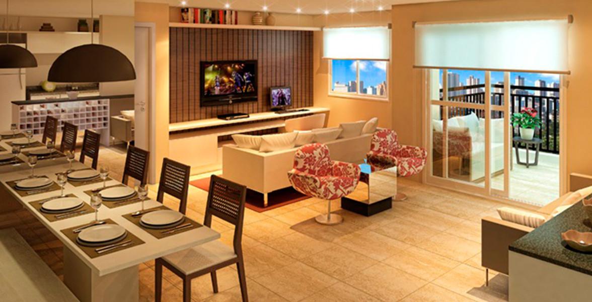 LIVING AMPLIADO do apto de 66 m² com fechadura biométrica e infraestrutura para automação residencial.