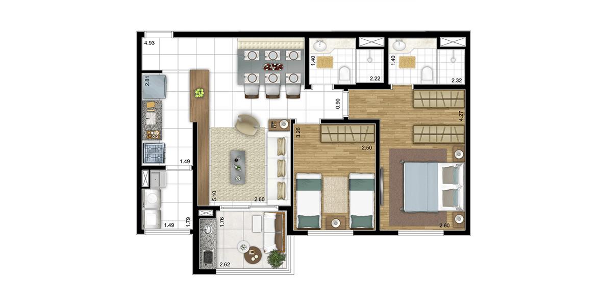 66 M² - 2 DORMS., SENDO 1 SUÍTE. Apartamento no Alto da Lapa com 2 dormitórios para a família, que pode ter o living ampliado, deixando apenas a suíte. Terraço e um conveniente apoio ao living, principalmente ao receber visitas.