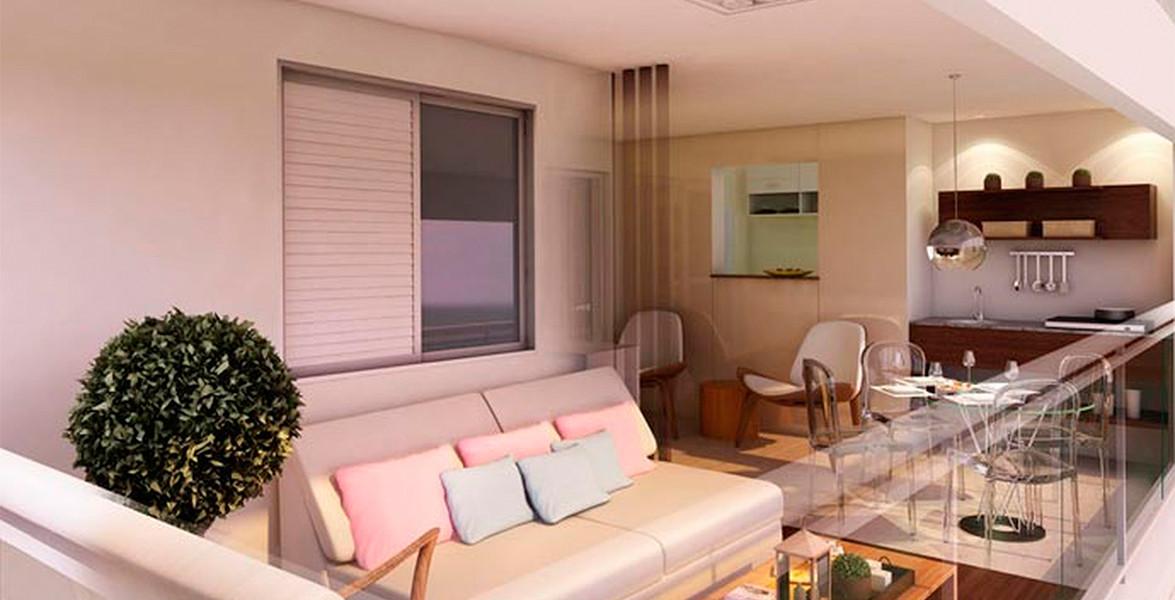 VARANDA do apto de 76 m² com terraço, ponto grill e passa prato, uma ligação direta com a cozinha do Win Alto da Boa Vista