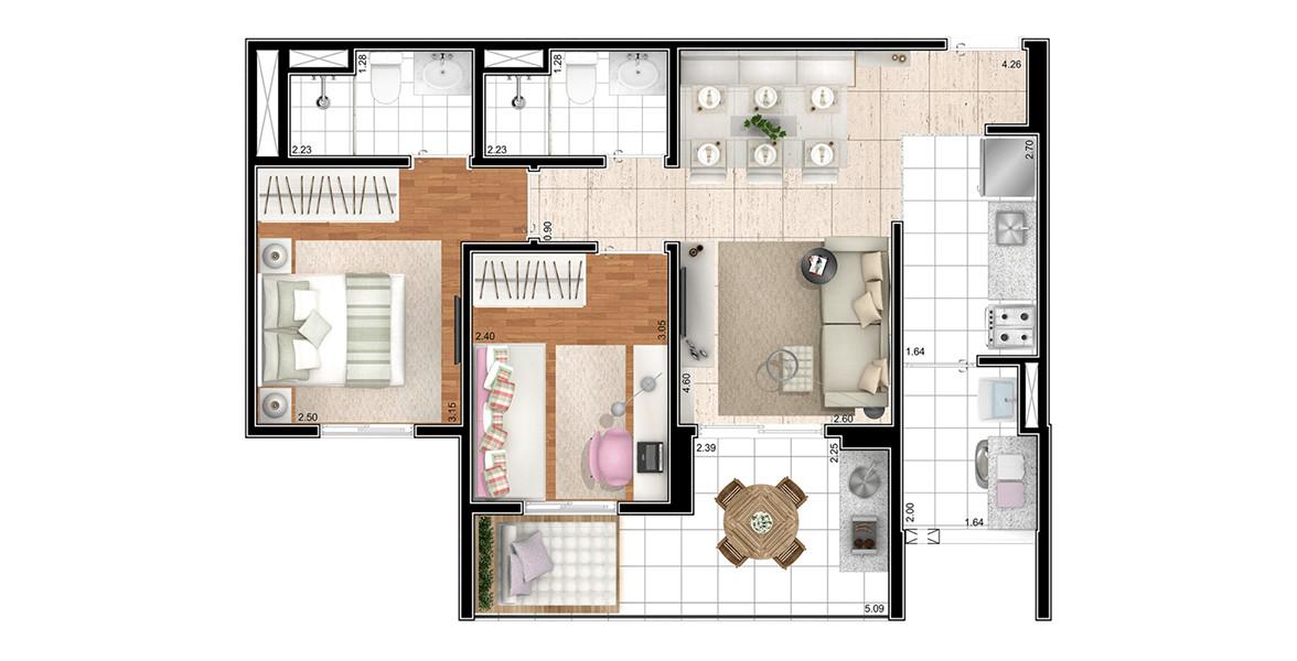 62 M² - 2 DORMS., SENDO 1 SUÍTE. Apartamento na Vila Prudente com living apoiado pela ampla varanda com ponto grill e 5 metros de frente, um tamanho bem raro em plantas com essa metragem.