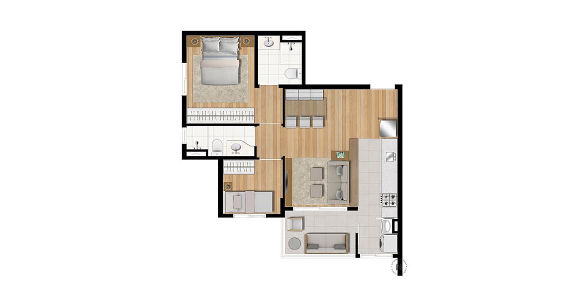 55 M² - 2 DORMS., SENDO 1 SUÍTE. Apartamento em Perdizes com 2 dormitórios, tem terraço com passagem direta para a cozinha que, por sua vez, se integra ao living, criando uma fluidez interna muito boa.
