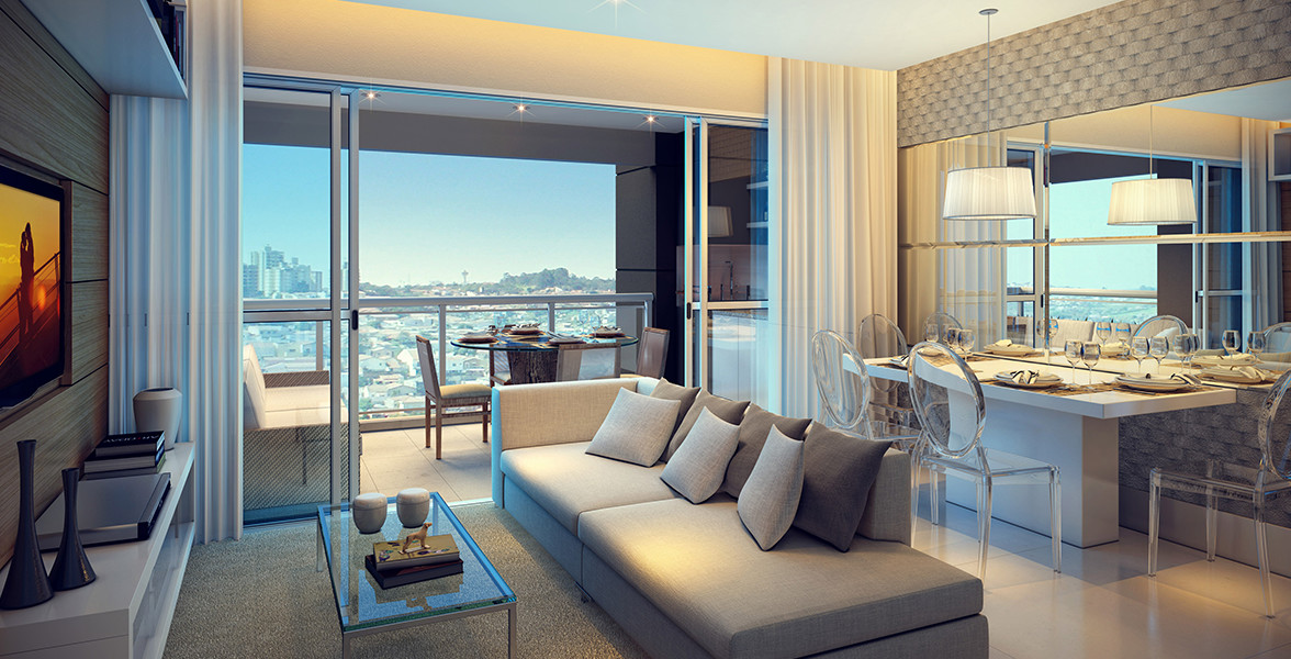 LIVING AMPLIADO do apto de 71 m² com amplas portas de vidro de ponta a ponta, possibilitando maior abertura.