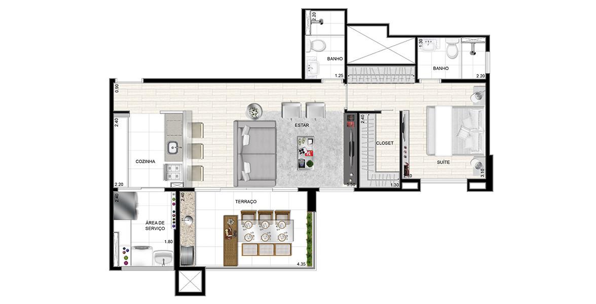 71 M² - 1 SUÍTE. Apartamento no Panamby bastante confortável, tem todos os ambientes bem generosos: Suíte com closet e banheiro com ventilação natural, living com mais 5 metros de boca de sala e amplo terraço gourmet em L com churrasqueira.