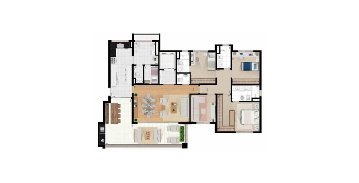 172 M² - 3 DORMS., SENDO 1 SUÍTE. Apartamento no Tatuapé com 3 dormitórios, sendo 1 suíte master com closet, banheiro com cuba dupla ventilado naturalmente. Tem uma Sala de TV que pode ser transformada em um 4º dormitório para famílias maiores.