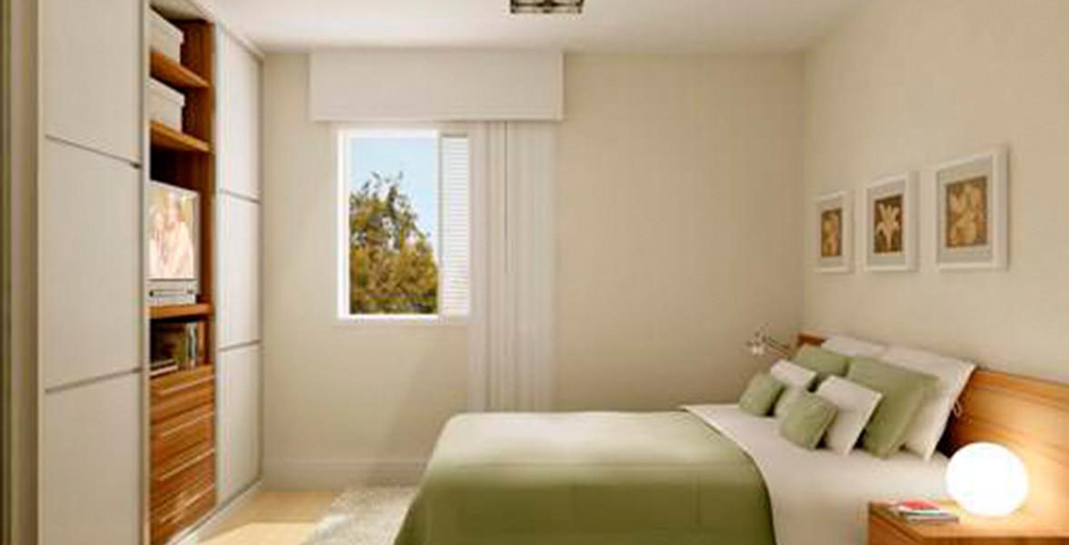 SUÍTE do apto de 74 m², confortável, com seu próprio banheiro,
