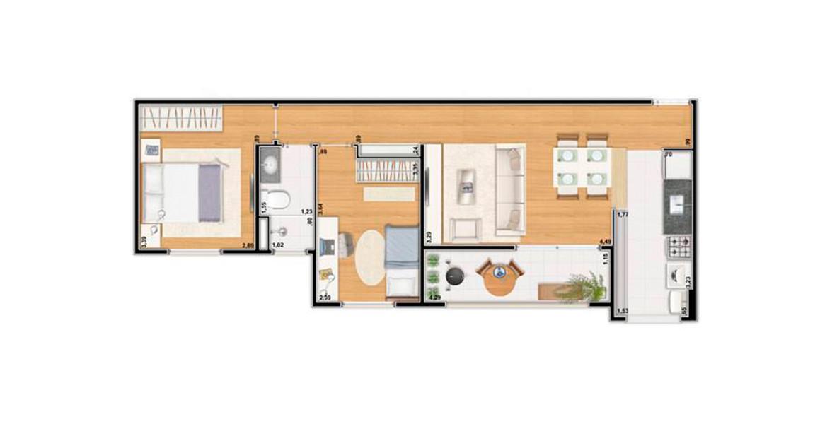 60 M² - 2 DORMS. Apartamento em Cotia com todos os ambientes ventilados, tem uma ótima varanda com mais de 4 metros de frente integrada à sala.
