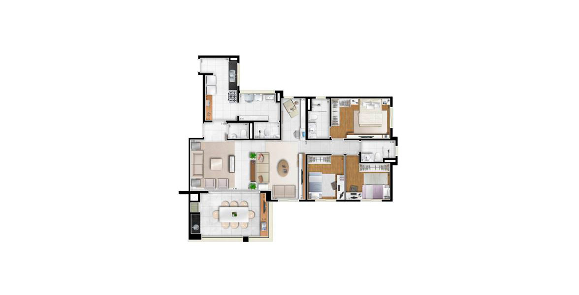Planta do Artefatto. 132 M² - 3 DORMS., SENDO 1 SUÍTE. Apartamento na Chácara Inglesa com living ampliado, tem espaço para home office e apoio de um lavabo, integrado ao amplo terraço gourmet já entregue com churrasqueira.